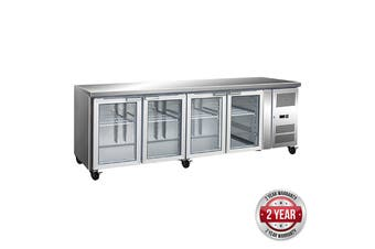 GN4100TNG - 4 Glass Door Gastronorm Bench Fridge