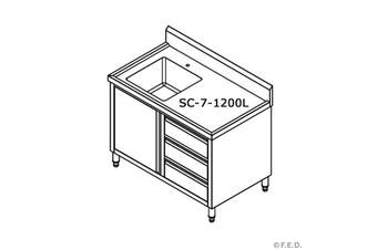 SC-7-1200L-H CABINET WITH LEFT SINK