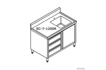 SC-7-1200R-H CABINET WITH RIGHT SINK