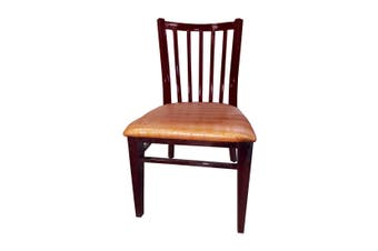Dining chair brown with metal frame and brown cushion - YQ-G-15B