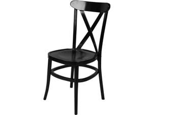ZS-W01BL Black Classic cross back wooden dining chair