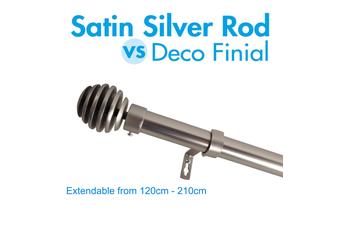 Extendable Curtain Rod 120-210cm Satin Silver