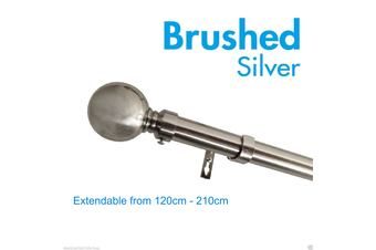 Extendable Curtain Rod 120-210cm Brushed Silver