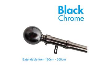 Extendable Curtain Rod 160-300cm Black Chrome
