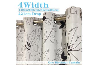 Single Panel Eyelet  Curtain 140cm x 221 cm (D) Printed Blackout curtains