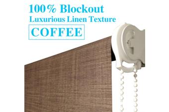 Blockout Roller Blinds 210cm(W)x210cm(D) Luxury Linen Textured Coffee