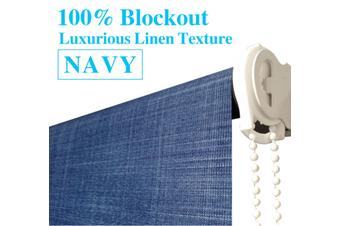 Blockout Roller Blinds 240cm(W)x210cm(D) Luxury Linen Textured Navy