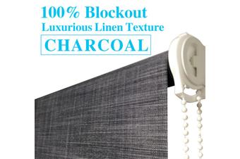 Blockout Roller Blinds 240cm(W)x210cm(D) Luxury Linen Textured Charcoal