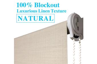 Blockout Roller Blinds 60cm(W)x210cm(D)Luxury Linen Textured Natural