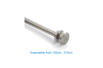 Stainless Curtain Rod 120-210cm Extendable-Circle Finial