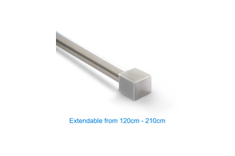 Stainless Curtain Rod 120-210cm Extendable-Cube Finial