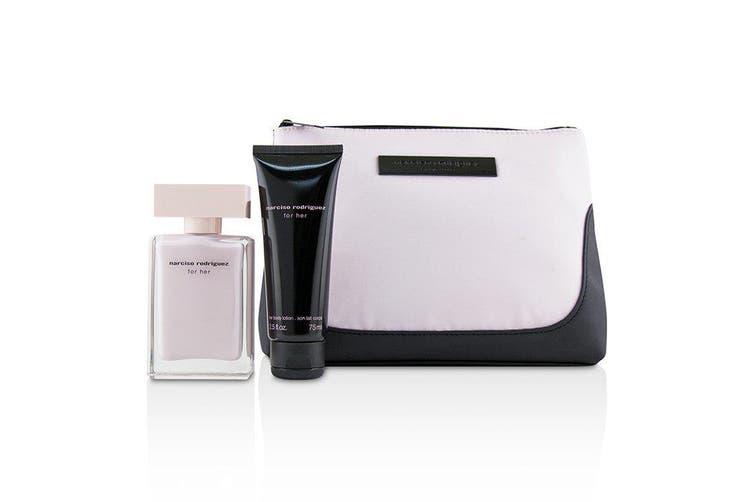 Narciso Rodriguez For Her Coffret: Eau De Parfum Spray 50ml + Her Body Lotion 75ml + Pouch 2pcs+1Pouch
