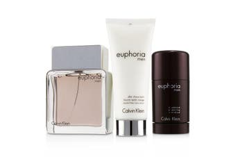 Calvin Klein Euphoria Men Coffret: Eau De Toilette Spray 100ml + Deodorant Stick 75g +After Shave Balm 100ml (Green Box) 3pcs