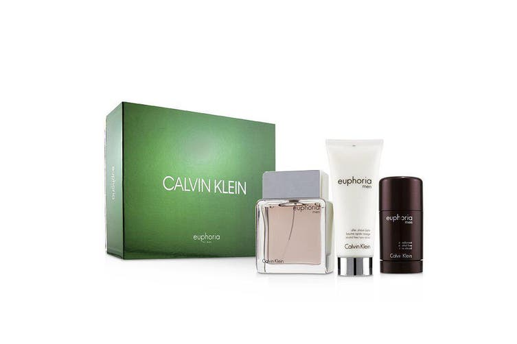 Calvin Klein Euphoria Men Coffret: Eau De Toilette Spray 100ml + Deodorant Stick 75g +After Shave Balm 100ml (Green Box) 3pcs