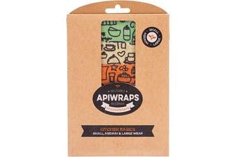 Apiwraps Reusable Beeswax Wraps - Kitchen 1 X Small, Medium & Large 3