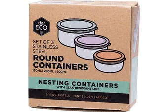 Ever Eco Stainless Steel Round Containers Spring Pastels - Leak Resistant 3