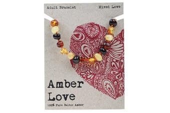 Amber Love Adult's Bracelet 100% Baltic Amber - Mixed Love 20cm