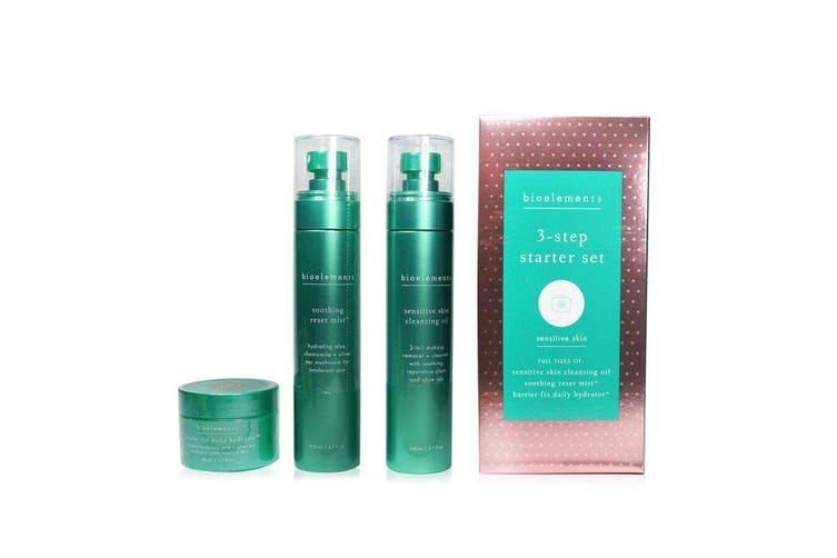 Bioelements 3-Step Starter Set : Sensitive Skin Cleansing Oil 110ml + Soothing Reset Mist 110ml + Barrier Fix Daily Hydrator 50ml 3pcs