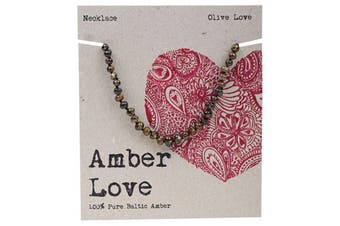 Amber Love Children's Necklace 100% Baltic Amber - Olive Love 33cm