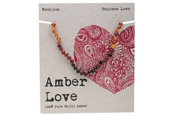 Amber Love Children's Necklace 100% Baltic Amber - Rainbow Love 33cm