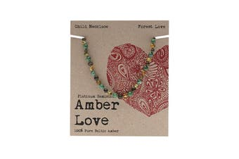 Amber Love Children's Necklace 100% Baltic Amber - Forest Love 33cm