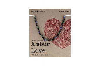 Amber Love Children's Necklace 100% Baltic Amber - Moon Love 33cm