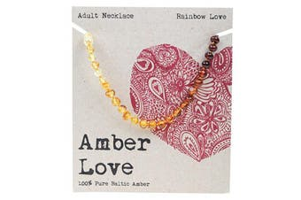 Amber Love Adult's Necklace 100% Baltic Amber - Rainbow Love 46cm