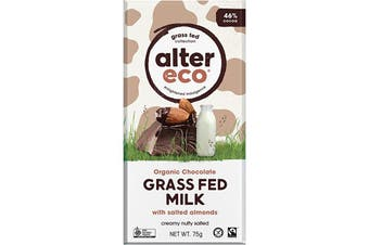 Alter Eco Chocolate (Organic) Grass Fed Milk With Salted Almonds 75g