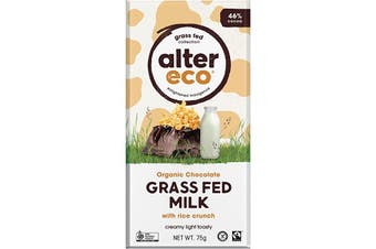 Alter Eco Chocolate (Organic) Grass Fed Milk With Rice Crunch 75g