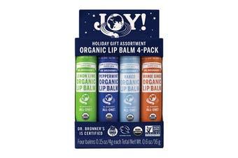 Dr. Bronner's Organic Lip Balm Joy 4g x 4 Pack (Lemon Lime, Peppermint, Naked & Orange Ginger)