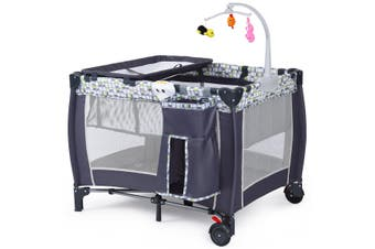Costway Foldable Travel Cot Baby Crib Playpen Infant Bassinet Bed Portacot w/ Carry Bag