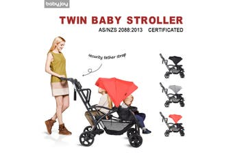 Ultra 2in1 Stand&Ride Twin Baby Stroller Toddler Bassinet Pram Tandem Pushchair