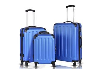 3 Piece Luggage Sets 3pcs Suitcase Trolley Travel Hard Case Quiet Lightweight- Blue