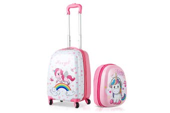 "2PC Kids 16"" Luggage + 12"" Backpack Set Travel Trolley Suitcase Set  Luggage Carry On Bag Hard Shell Gift"