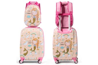 "Kids Luggage Set 18"" Suitcase +12"" Backpack Carry On Bag Travel Trolley Gift"