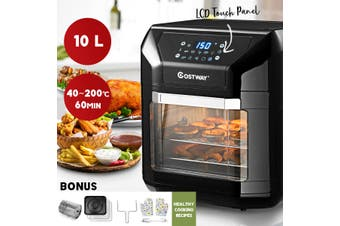 Costway Air Fryer Oven, All-in-1 Multifunctional Kitchen Healthy Cooker, Oil Free Electric Convection Oven Low Fat, 10L
