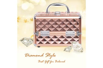 Costway Portable Mini Cosmetic Beauty Case, Makeup Organiser, with Mirror / Rosegold