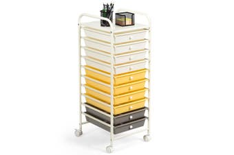Costway 10 Drawers Rolling Storage Trolley  Cart Office Cabinet File Organizer Tool Box Home Kitchen w/Wheels,Yellow