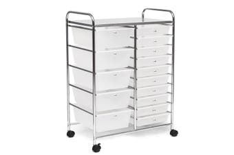 Costway 15 Drawers Rolling Storage Cart Metal Trolley File Organiser Office Cabinet Home Kitchen w/4 Wheels,Clear
