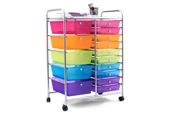 Costway Rolling Storage Cart Utility Trolley 15 Drawers Office Organiser File Cabinet  Home Kitchen w/4 Wheels,Multi-color