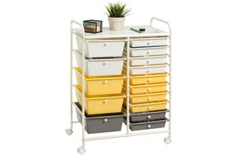 Costway 15 Drawers Rolling Storage Cart Utility Trolley Office Paper Organiser w/Wheels Home Kitchen Bathroom,Yellow