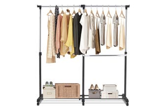 Costway Adjustable Garment Rack Drying Stand Coat Holder Rolling Clothes Hanger Home Laundry