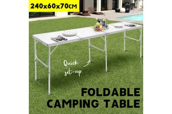 Folding Camping Table [2.4 Meters], Portable Picnic Table, Outdoor BBQ Aluminum Dining Desk