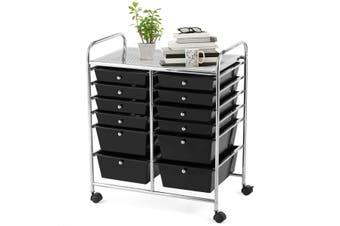 Costway 12 Drawers Portable Storage Cart Trolley 6-Tier Office Organiser Tool Box Home, Black