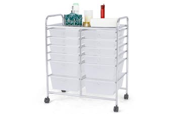 Costway 12 Drawers Storage Trolley 6-Tier Office Organiser File Cabinet Tool Box Home Kitchen Cart,Clear