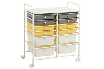 Costway 12 Drawers Storage Metal Trolley Cart Home Office Organiser File Cabinet Beauty Salon,Yellow
