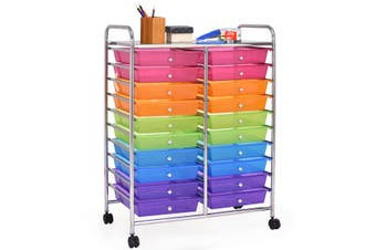 Costway 20 Drawers Home Office Rolling Storage Trolley Cart Paper Drawer Organiser Filing Cabinet 6-Tier w/Wheels,Multi-color