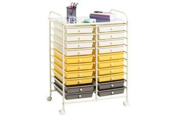 Costway 20-Drawer Home Office Rolling Storage Trolley Cart Tool Box File Organiser Kitchen Bathroom 6-Tier w/Wheels,Yellow