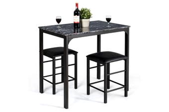 Costway 3PC Dining Table and Chairs Set,PU Leather Bar Stools, Kitchen  Table Furniture, Black
