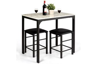 Costway 3PC Dining Table and Chairs Set,PU Leather Bar Stools, Kitchen  Table Furniture, White